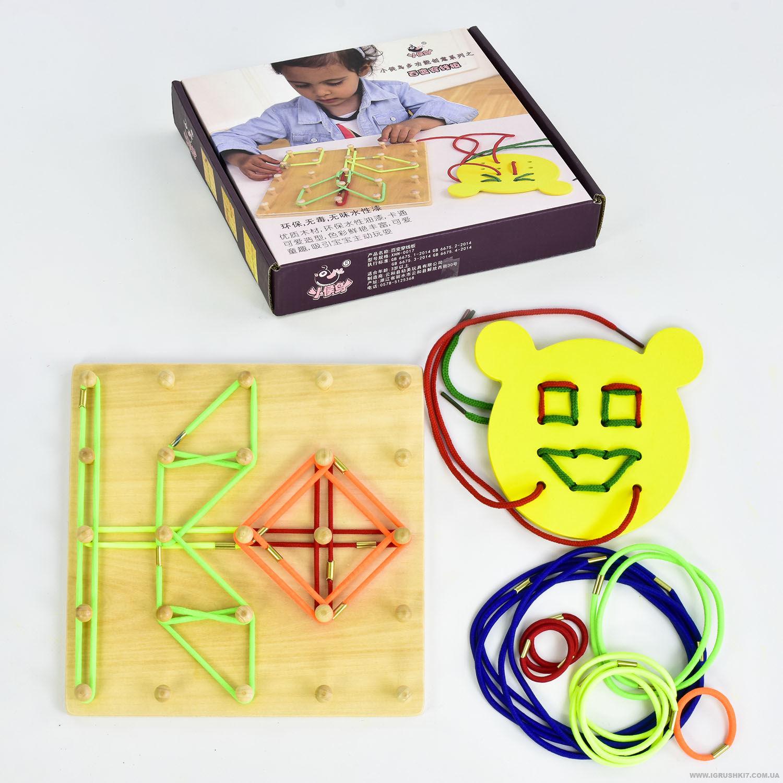 Деревянная игра с резинками и шнуровкой
